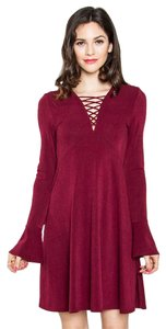 Sugarlips Flare Knit Long Sleeve Dress