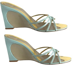 Fendi Abstract Enamel Light Blue and Dove Gray Sandals