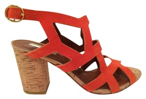 Halogen Leather Uppers Cork Heels Rubber Sole Heel Orange Suede Sandals