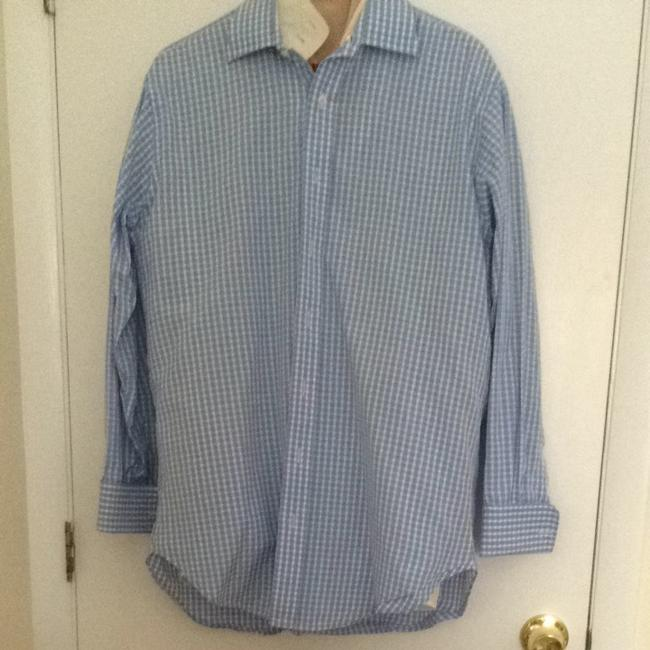 Robert Talbot Button Down Shirt Blue & White