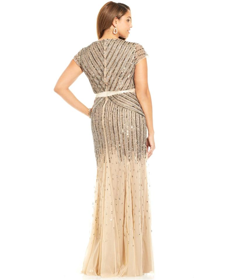 Adrianna Papell Nude Cap-sleeve Beaded Sequined V-neck Gown Long ...