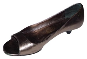 Salvatore Ferragamo Dressy Or Casual Open Toe Style Style Good Vintage Shape Rare Wide Width pewter/metallic leather kitten heels Pumps