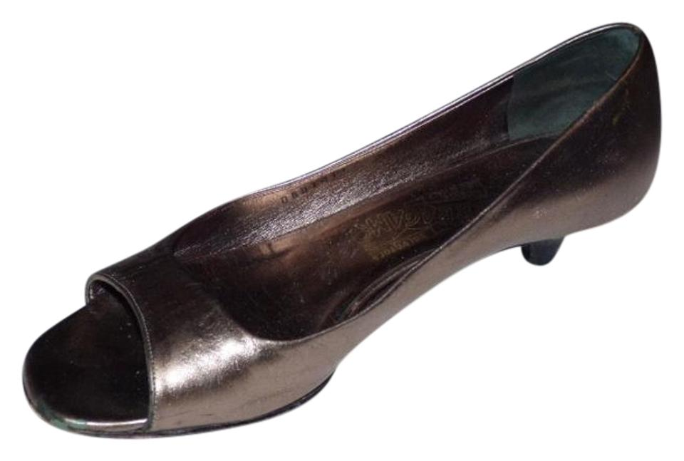 865ab9cfa4 Salvatore Ferragamo Dressy Or Casual Open Toe Style Style Good Vintage  Shape Rare Wide Width pewter ...