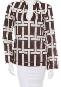 Tory Burch Top Brown and ivory