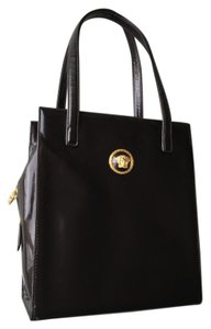 Versace Vintage Gold Hardware Tote in Dark brown