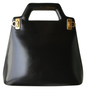 Salvatore Ferragamo Vintage Black Tote in Black, gold