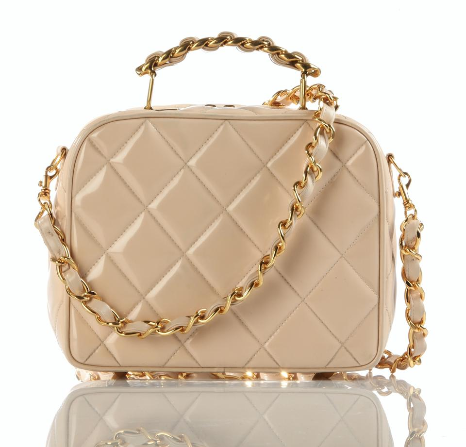 3c56db7b1956 Chanel Camera Mini Quilted Vintage Rare Beige   Nude Patent Cross ...