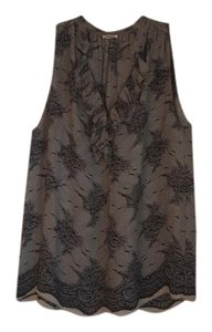 L'AGENCE Silk Sleeveless Top Lace print throughout