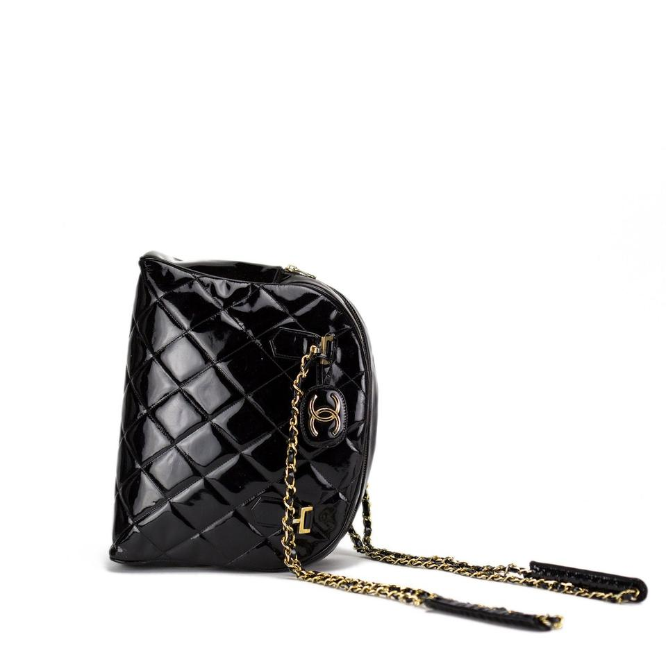 Chanel Shopping Quilted Tote Very Rare Limited Edition Black Patent ... 0f99a4c675b00