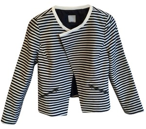 Halogen Asymmetrical Moto-jacket Stripes Black and White Blazer