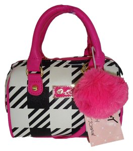 Betsey Johnson Mini Barrel Bone/black Plaid Cross Body Bag
