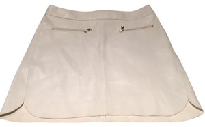 Zara Mini Faux Leather Zippers Mini Skirt White