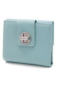 Tiffany & Co. Tiffany Co. Tiffany Blue Leather Turn-lock Compact Wallet