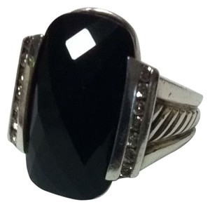 David Yurman David Yurman Deco collection Onyx And Diamonds Size 6.5 Ring Rope cable style Authentic