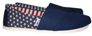 TOMS Flat Striped Canvas Navy Flats