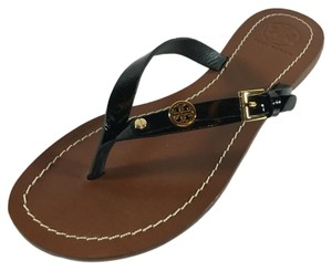 Tory Burch Flat Thong Monogram Black Sandals