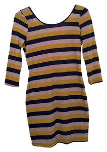 Solemio short dress Mauve, Navy, Mustard Striped Hand Wash Winter on Tradesy
