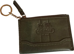 Coach Coach Green Leather Key Cles Coin Purse Card Holder