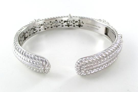 Judith Ripka JUDITH RIPKA STERLING SILVER DIAMONIQUE CUFF HEART BRACELET BANGLE ZIRCONIA PAVE
