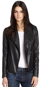 Vince Scuba Lambskin Leather Asymmetric Zip Whipstitch Moto Crop Motorcycle Jacket