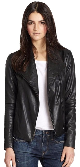 Vince Scuba Lambskin Leather Asymmetric Zip Whipstitch Moto Crop Motorcycle Jacket Image 0