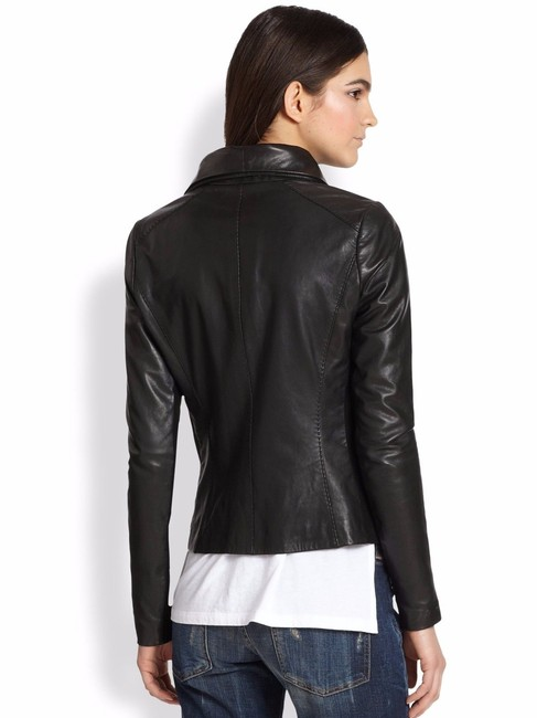Vince Scuba Lambskin Leather Asymmetric Zip Whipstitch Moto Crop Motorcycle Jacket Image 1