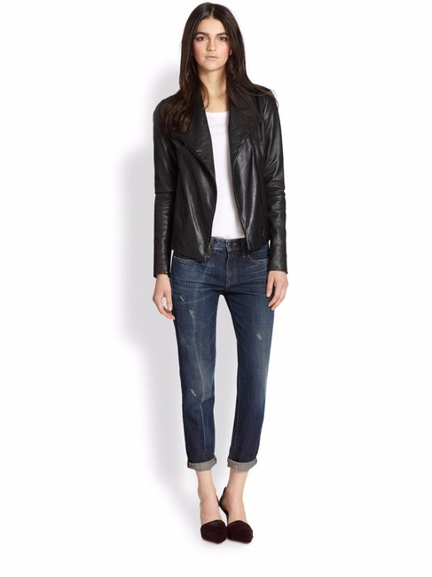 Vince Scuba Lambskin Leather Asymmetric Zip Whipstitch Moto Crop Motorcycle Jacket Image 2