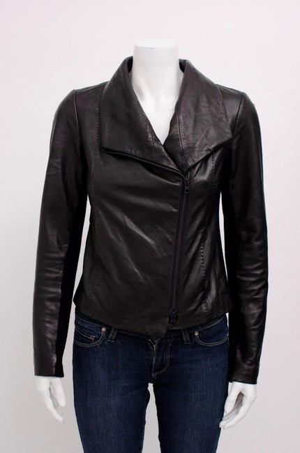 Vince Scuba Lambskin Leather Asymmetric Zip Whipstitch Moto Crop Motorcycle Jacket Image 3