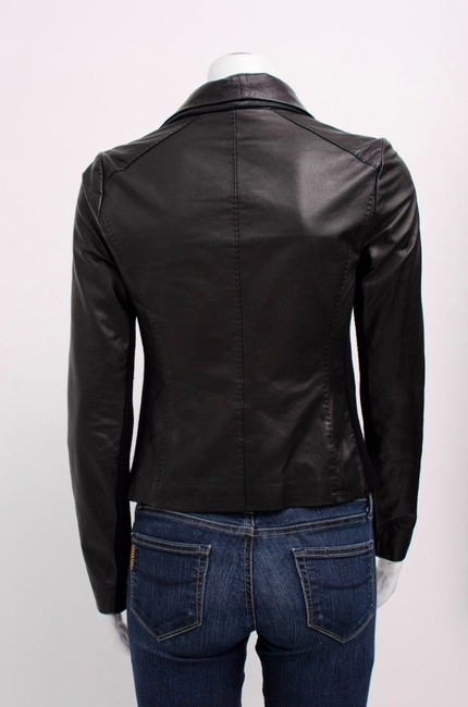 Vince Scuba Lambskin Leather Asymmetric Zip Whipstitch Moto Crop Motorcycle Jacket Image 5