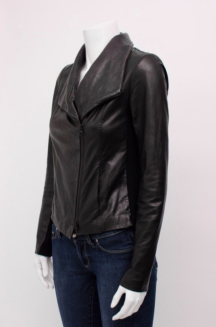 Vince Scuba Lambskin Leather Asymmetric Zip Whipstitch Moto Crop Motorcycle Jacket Image 6