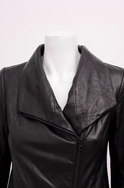 Vince Scuba Lambskin Leather Asymmetric Zip Whipstitch Moto Crop Motorcycle Jacket Image 7