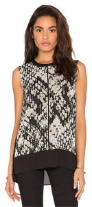 Vince Multi Basketweave Print Top Multi-Color