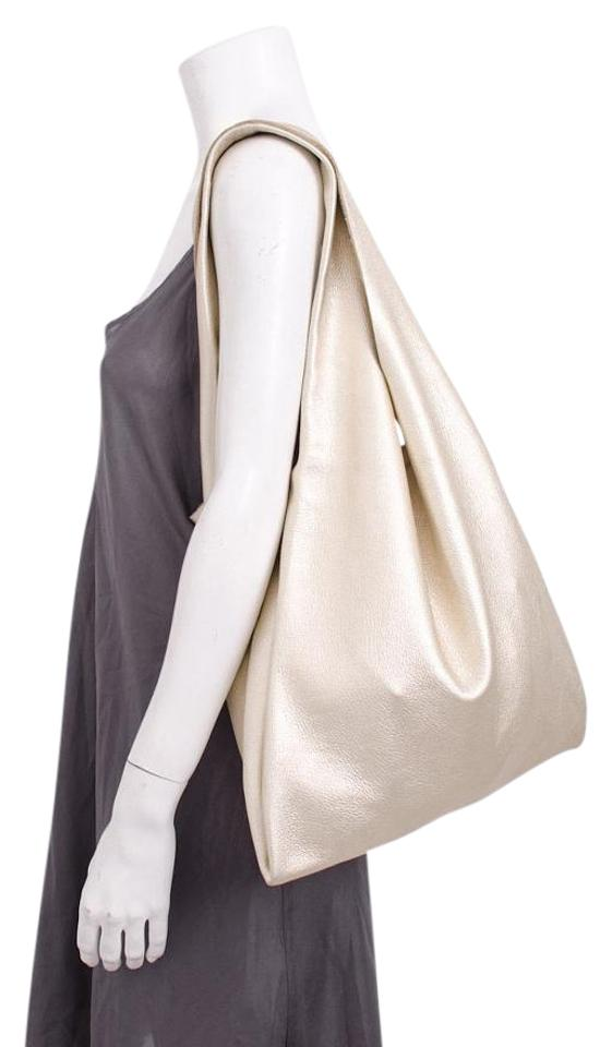 5cb6afe25a2 BAGGU Textured Metallic Need Supply Thin Leather Shopper Purse Tote in Gold  Image 0 ...