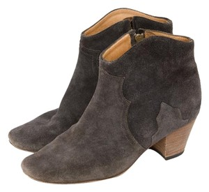 Isabel Marant Dicker Anthracite Suede Leather Western Ankle 7838 Gray Boots