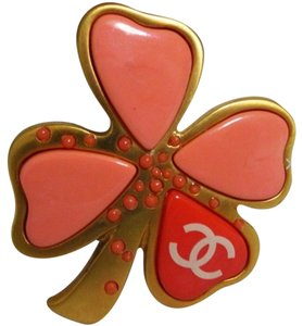 Chanel Coral Clover Brooch