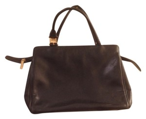 Jones New York Leather Structured Satchel in Black Gold Accents