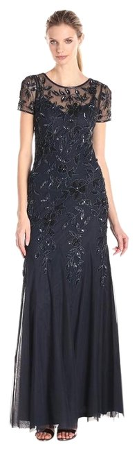 Lovely Adrianna Papell Navy Blue Floral Beaded Godet Gown With Short