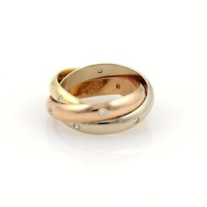 Cartier Cartier Trinity Diamonds 18k Tri-color Gold Rolling Band Ring 52-us 6.25