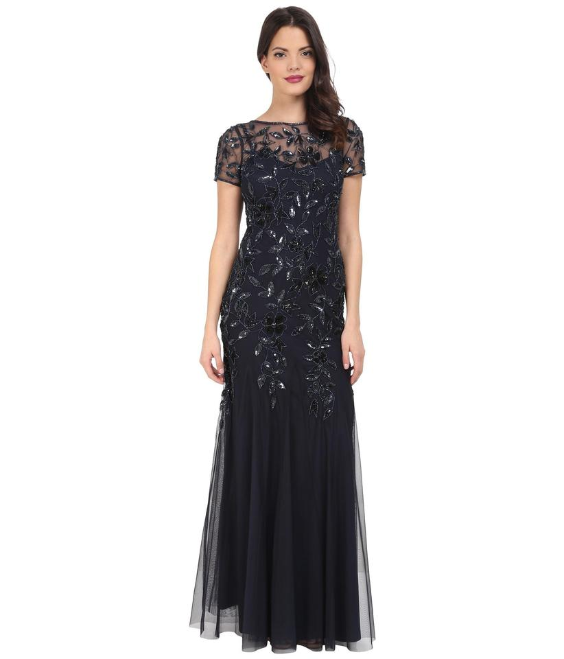 Adrianna Papell Navy Blue Beaded Godet Gown with Short Sleeves Gown ...