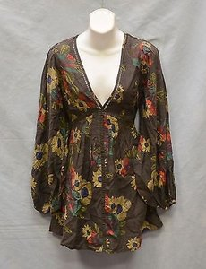 Free People short dress Brown A7 Cottonrayon Floral on Tradesy