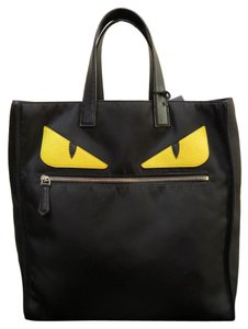 Fendi Brand New Monster Nylon Roll Tote in black