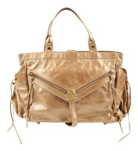 Botkier Gold Metallic Leather Shoulder Bag