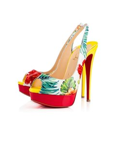 Christian Louboutin Peep-toe Aloha-print Stiletto Heel Made In Italy yellow,red and multi Pumps