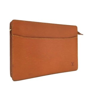 Louis Vuitton Epi Pouchette Homme Brown Tan Tan/Brown Clutch