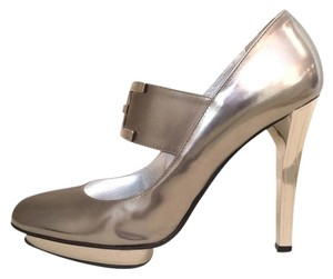 Versace Metallic Heels Pumps Silver Platforms