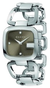 Gucci Gucci Women's Steel Watch w/ Brown Dial & 3 Diamonds