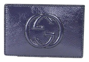 Gucci GUCCI Soho Patent Leather Card Case Pouch Blue 337945 4233