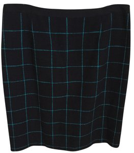 Banana Republic Pencil Skirt Navy with turquoise check pattern