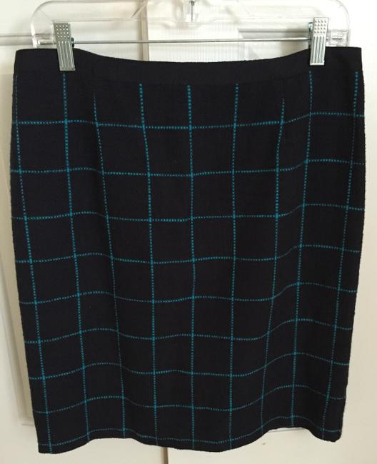 Banana Republic Pencil Large J.crew Skirt Navy with turquoise check pattern