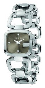 Gucci WOMEN'S GUCCI SMALL VERSION STEEL W/ BROWN AND 3 DIAMONDS WATCH